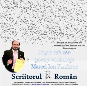Afiş Scriitorul Român,poetry workshop, Boema 33, 08.01.2015